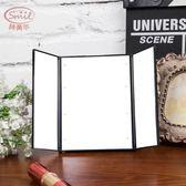 LED化妝鏡詩美爾LED化妝鏡帶燈 隨身便攜鏡子 台面大號雙面梳妝折疊小鏡子【星時代女王】