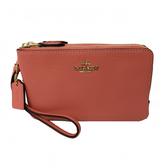 【COACH】 牛皮L型雙層拉鍊手拿包零錢包(皮革-嫣紅)