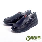 【W&M】Fit 系列 健走健塑鞋 亮皮直套休閒男鞋-黑