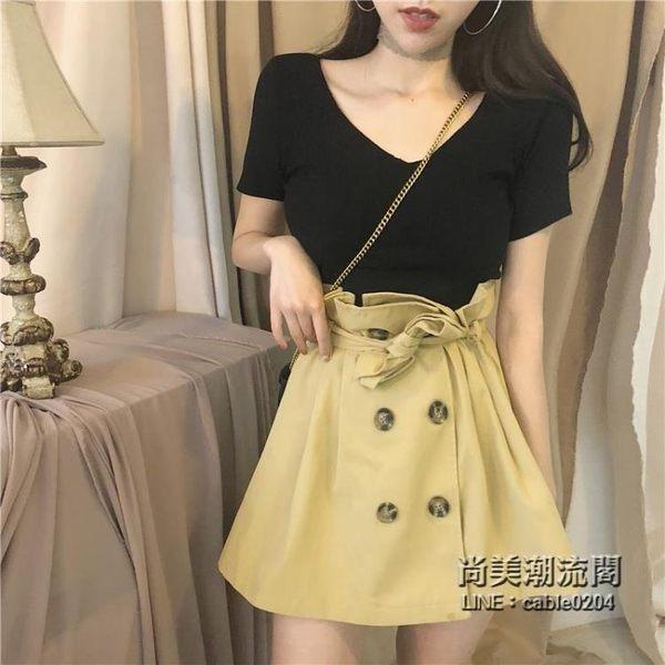 裝女套裝V領針織上衣 花苞高腰綁帶雙排扣半身裙兩件套