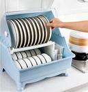 帶蓋碗碟架放碗架收納盒雙層瀝水架裝碗筷收納箱廚房碗櫃置物架碗 亞斯藍