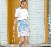 小象牛仔半身長裙新款網紗蕾絲拼接裙子學院風a字裙 QQ1865『MG大尺碼』