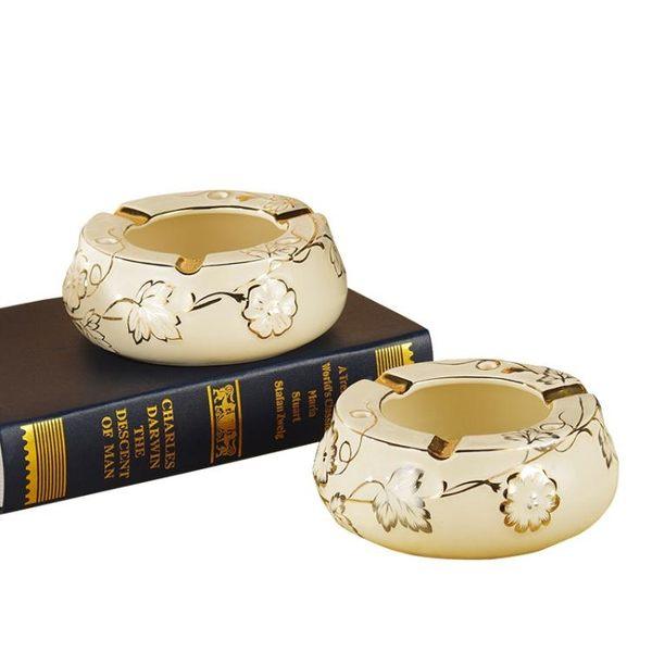 創意歐式大號家用客廳陶瓷擺件時尚煙灰缸菸灰缸PLL3992【男人與流行】