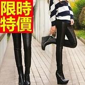 皮褲-大方彈力休閒女長褲1色63u28【巴黎精品】