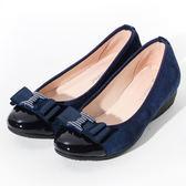 ★新品上市★GREEN PINE 蝴蝶結裝飾楔形鞋-藍色
