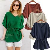 降價兩天 歐美女裝蝙蝠袖V領襯衫女寬鬆大尺碼綠色收腰棉麻上衣 秋季上衣
