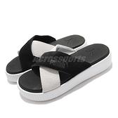 Puma 拖鞋 Platform Slide Suede 黑 白 黑白 厚底 交叉綁帶 女鞋 涼拖鞋【ACS】 37510503