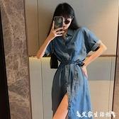 牛仔洋裝 牛仔連身裙夏裝2021年新款女法式復古收腰顯瘦單排扣短袖中長裙子 艾家