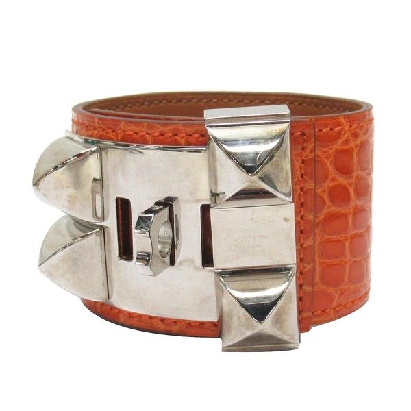 HERMES 愛馬仕 93 Orange 橘色鱷魚皮銀釦CDC寬版手環 □Q刻 Collier De Chien S