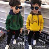 兒童邊幅衛衣男童加絨衛衣加厚新款韓版兒童連帽絨衫秋冬裝寶寶上衣外套潮多莉絲旗艦店