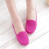 娃娃鞋 桃紅 女鞋 真皮平底娃娃鞋 懶人鞋【SV6952】快樂生活網