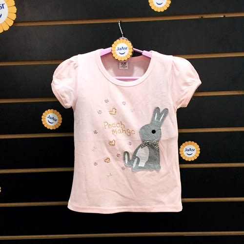 ☆棒棒糖童裝☆(S165156)夏女童粉色貼布小兔公主袖上衣 5-17