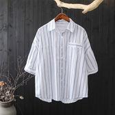 清新日系直條紋襯衫上衣-大尺碼 獨具衣格