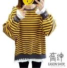EASON SHOP(GW3569)實拍假兩件復古橫條紋字母印花OVERSIZE長版長袖T恤裙女上衣服寬鬆內搭衫棉T恤