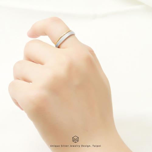 3mm質感戒-銀+細線戒-雙件組 純銀戒指(18K金)