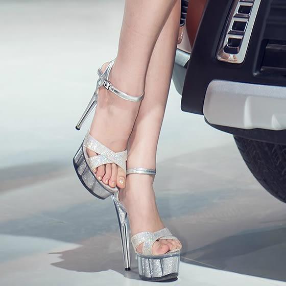 15公分/釐米超高跟涼鞋 夜清涼天高女鞋 厚底防水台模特走秀鞋婚鞋秋季上新