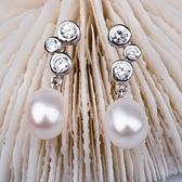 珍珠耳環 925純銀-鑲鑽8mm水滴型長款生日情人節禮物女飾品73lw52【時尚巴黎】