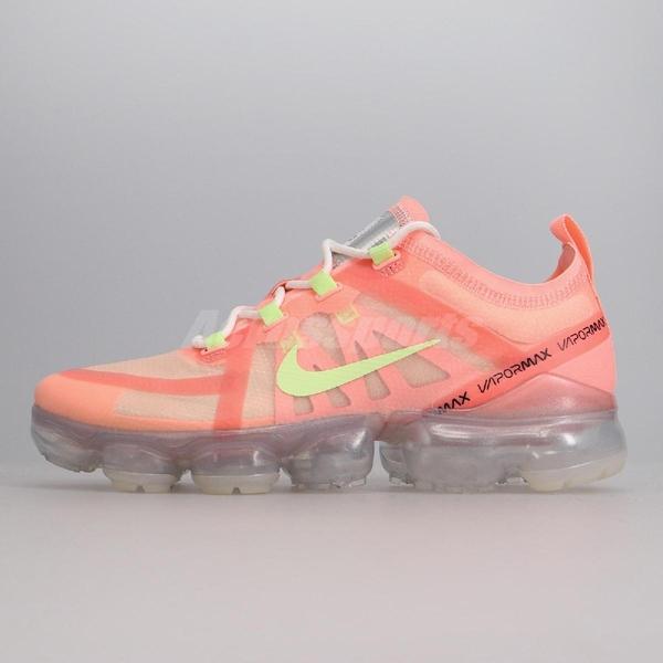【US8-NG出清】Nike 慢跑鞋 Wmns Air Vapormax 2019 粉紅 黃 女鞋 運動鞋 右鞋面破洞 無原鞋盒【ACS】