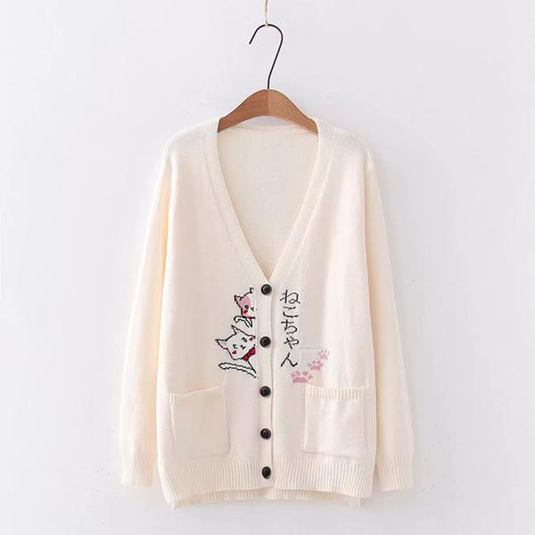 *ORead*韓版學院風寬鬆針織開衫V領卡通毛衣外套(米白色F碼)