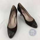 BRAND楓月 Salvatore Ferragamo SF 深棕色 黑色 麂皮拼接 流線型 尖頭鞋 高跟鞋 #7