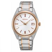 【台南 時代鐘錶 SEIKO】精工 SUR322P1 藍寶石鏡面 日期顯示 鋼錶帶女錶 6N42-00L0KS 白/玫瑰金 36mm