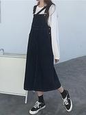牛仔洋裝牛仔背帶裙女春秋裝2021新款韓版中長款減齡遮肚顯瘦洋氣連身裙子 伊蒂斯