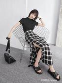 新款輕薄柔軟超火的不規則開叉格子半身長裙女夏   時尚潮流