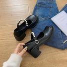 瑪麗珍鞋 英倫風小皮鞋女2021新款日系早春復古厚底瑪麗珍鞋珍珠一字帶單鞋 歐歐