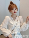 長袖襯衫長袖襯衫女設計感小眾夏季2020年新款韓版氣質V領百搭泡泡袖上衣 噯孕哺
