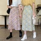 半身裙 2020夏季新款法式一片式裙子高腰中長款碎花雪紡半身裙女紫色長裙 歐歐