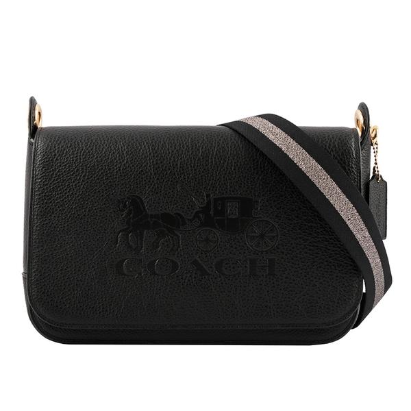 【COACH】荔枝皮革馬車圖案Logo壓印翻蓋斜背包(黑色) F72703 IMBLK