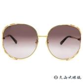 GUCCI 太陽眼鏡 GG0595S 008 (金-粉白) 2019 珊瑚蛇系列 金屬圓框 墨鏡 久必大眼鏡