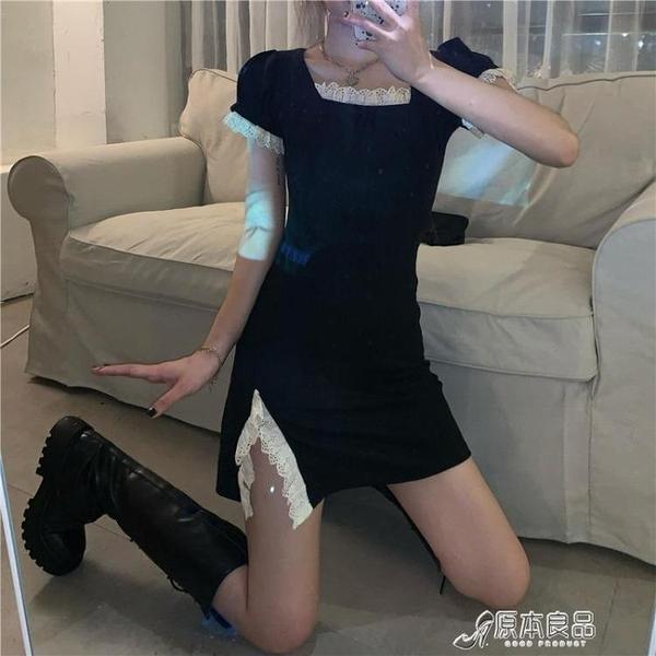 連身裙 蕾絲開叉氣質黑色方領短袖連身裙女夏季修身顯瘦短裙新款裙子【618特惠】