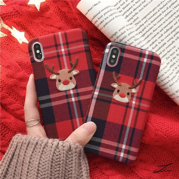 【SZ25】聖誕麋鹿紅色絨布手機殼 iphone xr手機殼 iphone 8 plus手機殼 iphone7plus手機殼 iphone xs max 手機殼