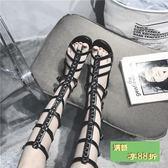 歐美英倫鬆緊性感羅馬高筒涼鞋女夏季平跟綁帶鏤空長筒平底涼靴女