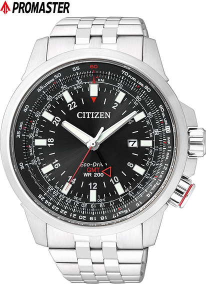 CITIZEN 星辰 Eco-Drive 光動能飛航時尚腕錶(BJ7071-54E)商務型雙時區-黑