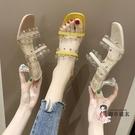 高跟拖鞋 網紅涼鞋女ins潮2020年春夏季新款韓版高跟鉚釘仙女風羅馬涼拖鞋 3色