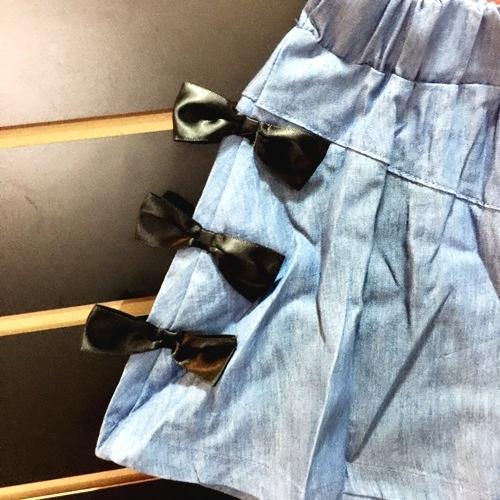 ☆棒棒糖童裝☆(61816)夏女童鬆緊腰立體蝴蝶結邊褲裙  5-15