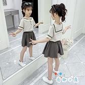 女童套裝韓版海軍領短袖時尚休閒兩件套【奇趣小屋】