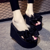 拖鞋厚底鞋超人字拖女防滑厚底沙灘鞋甜美蝴蝶結【免運】