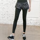 運動褲 假兩件瑜伽運動跑步健身房速干緊身褲 巴黎春天