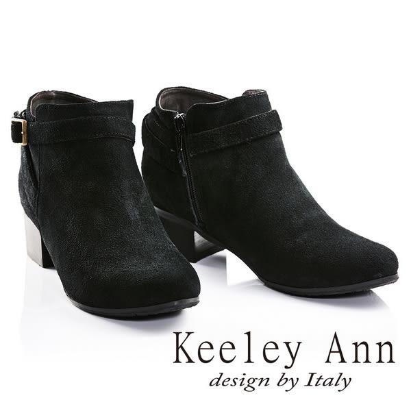★2016秋冬★Keeley Ann俐落簡約金屬方形釦飾全麂皮短靴(黑色) -Ann系列