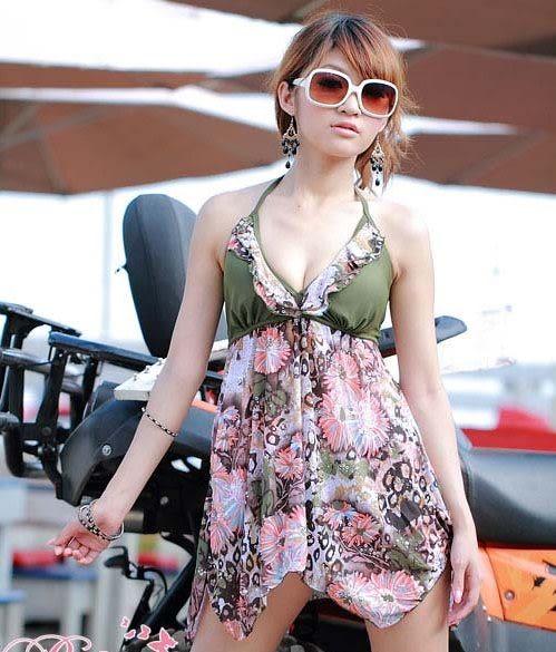 ☆莎lala (5折商品)【S23100】 韓版花朵綁帶荷葉邊美背洋裝裙泳衣/泳裝/二件式比基尼(XL號)