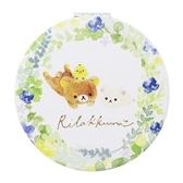 〔小禮堂〕懶懶熊 拉拉熊 圓形塑膠隨身雙面鏡《白綠.花朵》放大鏡.折鏡 4522654-06725