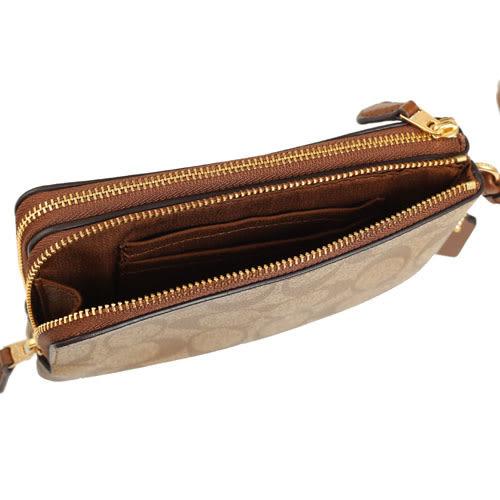 COACH PVC LOGO雙拉鍊手拿包(棕)