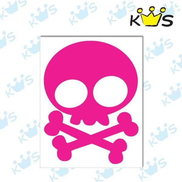 【收藏天地】防水防曬*安全帽 汽機車浮 雕貼紙-Q版小骷髏頭(2色)