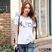 LIYO理優立體配色字母印花棉T恤E712005