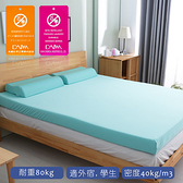 【1/3 A LIFE】12CM特柔舒壓竹炭記憶床墊(雙人5尺)薄荷綠送棉花糖枕2入
