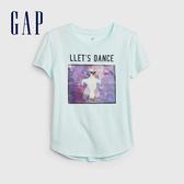 Gap 女童 創意圖案圓領短袖T恤 546070-淡水藍色