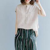 棉麻 圓領開襟顯瘦上衣-大尺碼 獨具衣格